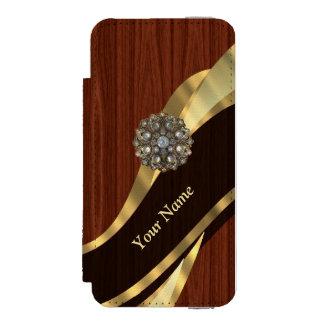名前入りでかわいらしく模造のなさくらんぼ木 INCIPIO WATSON™ iPhone 5 ウォレット ケース