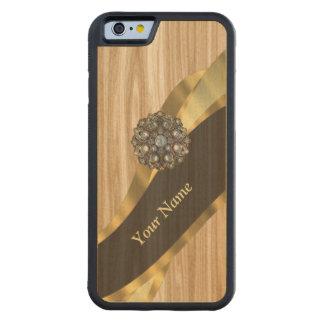 名前入りでかわいらしく模造のなカシ木 CarvedメープルiPhone 6バンパーケース
