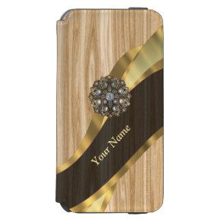 名前入りでかわいらしく模造のなカシ木 INCIPIO WATSON™ iPhone 5 財布型ケース