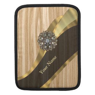 名前入りでかわいらしく模造のなカシ木 iPadスリーブ