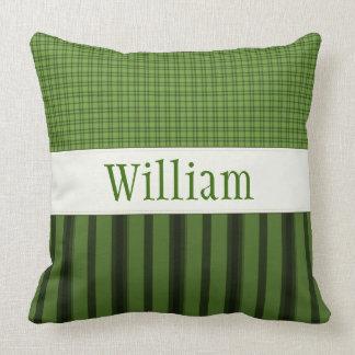 名前入りではっきりしたな緑の装飾用クッション クッション