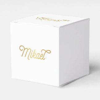 名前入りでエレガントな原稿のミカエルの金ゴールドの黒 フェイバーボックス