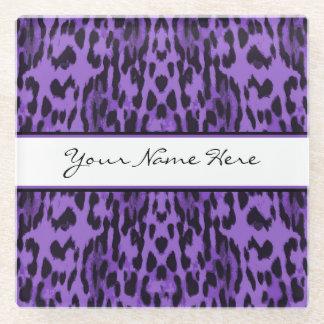 名前入りでエレガントな紫色のヒョウのプリント ガラスコースター