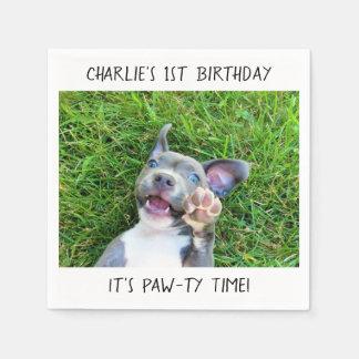 名前入りでカスタムな写真の小犬の誕生会 スタンダードカクテルナプキン