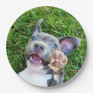 名前入りでカスタムな写真の小犬の誕生会 ペーパープレート