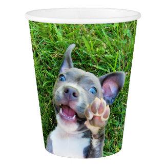 名前入りでカスタムな写真の小犬の誕生会 紙コップ