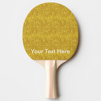 名前入りでカスタムな文字が付いている金ゴールドのグリッターのかい 卓球ラケット