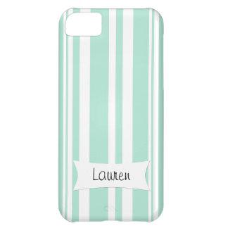 名前入りでカスタムなiPhoneの場合のミントの緑のストライプ iPhone5Cケース