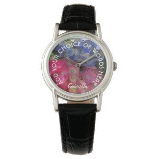 名前入りでカラフルなアジサイの花の腕時計 腕時計