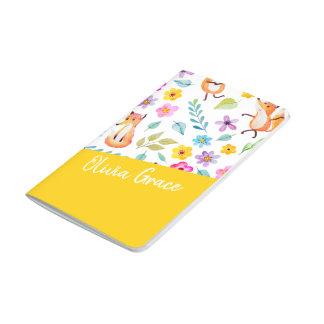 名前入りでカラフルなキツネパターン黄色 ポケットジャーナル