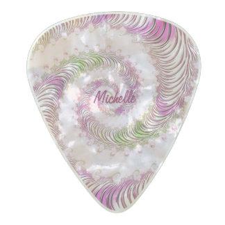 名前入りでガーリーで渦巻形のなフラクタルの芸術 パールセルロイド ギターピック