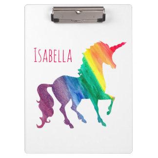 名前入りでクールな虹のユニコーンの水彩画の子供 クリップボード