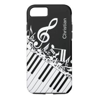 名前入りでクールな音符およびピアノ鍵 iPhone 8/7ケース