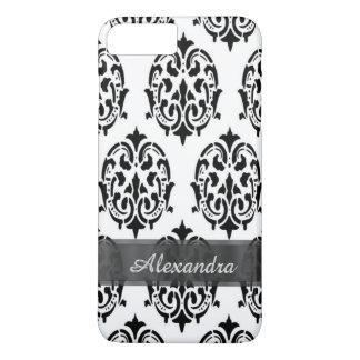 名前入りでシックでエレガントな白黒ダマスク織 iPhone 8 PLUS/7 PLUSケース