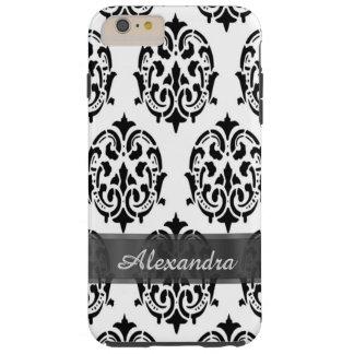 名前入りでシックでエレガントな白黒ダマスク織 TOUGH iPhone 6 PLUS ケース