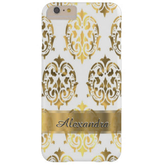 名前入りでシックでエレガントな金ゴールドおよび白いダマスク織 BARELY THERE iPhone 6 PLUS ケース