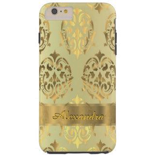 名前入りでシックでエレガントな金ダマスク織 TOUGH iPhone 6 PLUS ケース