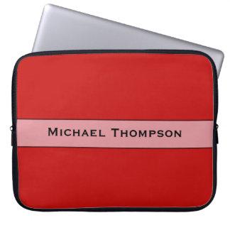 名前入りでシンプルで赤い色 ラップトップスリーブ