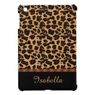 名前入りでスタイリッシュでシックな動物のヒョウのプリント iPad MINI カバー