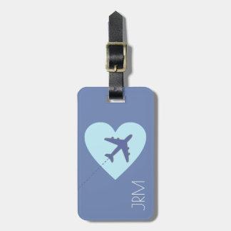 名前入りでフェミニンで青い愛飛行機旅行 ラゲッジタグ