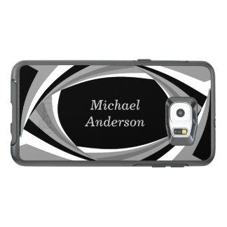 名前入りでモダンでスタイリッシュな白黒の灰色 オッターボックスSamsung GALAXY S6 EDGE PLUSケース