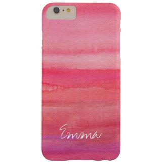 名前入りでモダンな女の子のピンクのバラ BARELY THERE iPhone 6 PLUS ケース