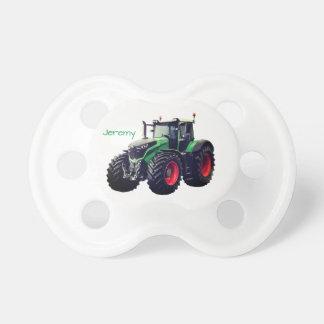名前入りでモダンな緑の農場トラクター おしゃぶり