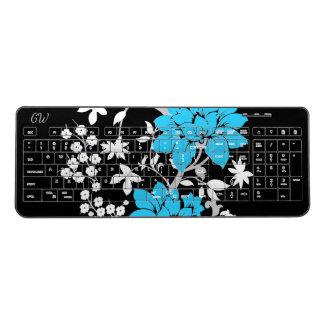 名前入りでモダンな花柄 ワイヤレスキーボード