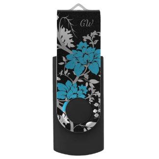 名前入りでモダンな花柄 USBフラッシュドライブ
