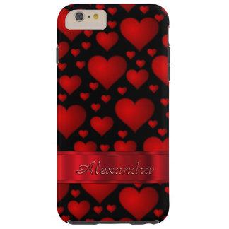 名前入りでロマンチックなハートパターン シェル iPhone 6 ケース