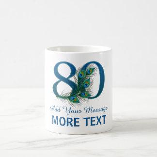 名前入りで上品な第80誕生日の第80マグ コーヒーマグカップ