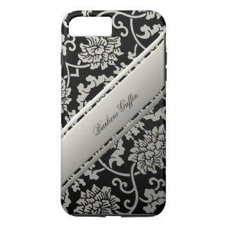名前入りで中国のな花のダマスク織黒およびクリーム iPhone 8 PLUS/7 PLUSケース