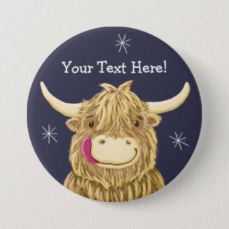名前入りで幸せなスコットランドの高地牛 缶バッジ