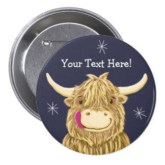名前入りで幸せなスコットランドの高地牛 7.6CM 丸型バッジ