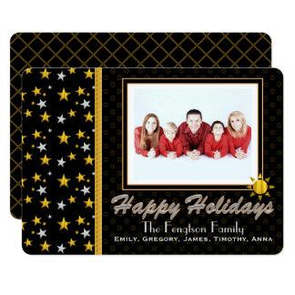 名前入りで幸せな休日の写真カード カード