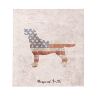 名前入りで愛国心が強いラブラドール米国の旗のメモ帳 ノートパッド