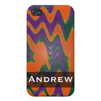 名前入りで明るいオレンジ紫色の緑の抽象芸術 iPhone 4 ケース