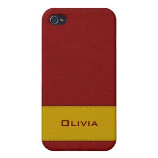 名前入りで模造ので赤い革iphone 4ケース iPhone 4/4S ケース