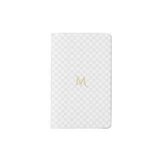 名前入りで模造のな金ゴールドのモノグラムの点検パターン ポケットMoleskineノートブック
