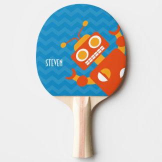 名前入りで熱狂するなおもしろいのオレンジロボット青シェブロン 卓球ラケット