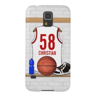 名前入りで白くおよび赤いバスケットボールジャージー GALAXY S5 ケース
