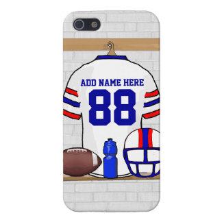 名前入りで白く赤く青いフットボールジャージー iPhone SE/5/5sケース