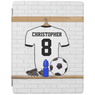 名前入りで白く黒いフットボールのサッカージャージー iPadスマートカバー
