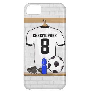 名前入りで白く黒いフットボールのサッカージャージー iPhone5Cケース
