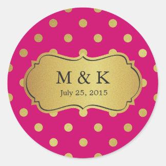 名前入りで粋なピンクの金ゴールドの水玉模様 丸型シール