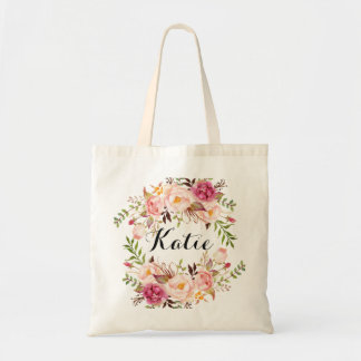 名前入りで素朴な花のBraidsmaid トートバッグ