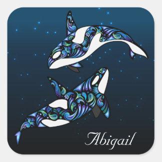 名前入りで美しいシャチのクジラのカップル スクエアシール