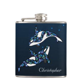 名前入りで美しいシャチのクジラのビーチ結婚式 フラスク