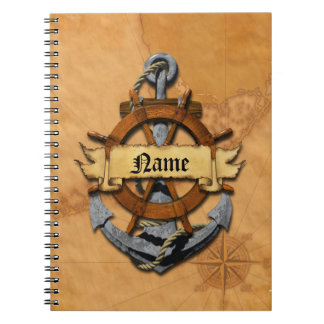 名前入りで航海のないかりおよび車輪 ノートブック