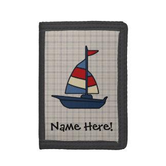 名前入りで航海のなヨットの青かタンの男の子